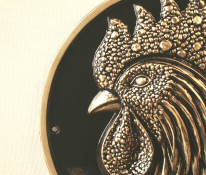 Black and gold sculptured rooster chicken wall plaque