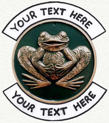 Sculptured frog house sign