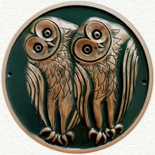 Owls sculptured wall plaque
