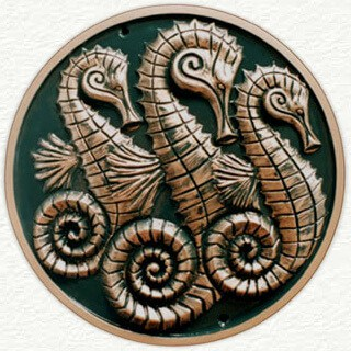 Sculptured seahorse wall plaque
