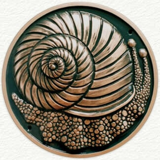 Snail sculptured wall plaque cast in aluminium