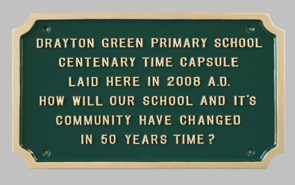 Green and gold commemorative for primary school