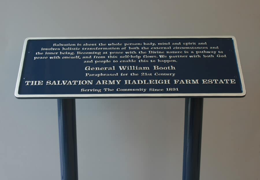 Free standing commemorative plaque on steel posts