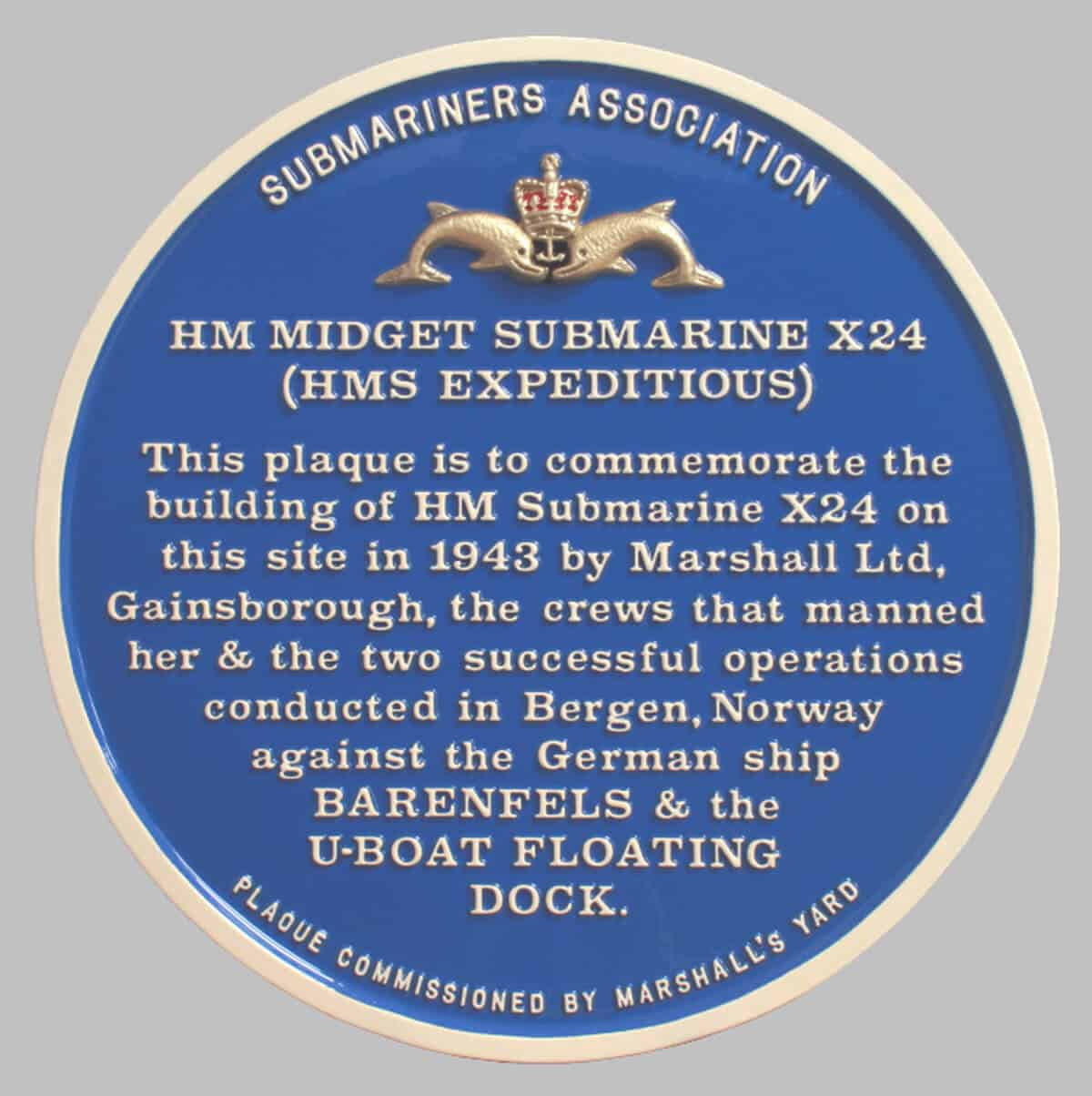 Large blue plaque to commemorate the building of submarine X24 by Marshall Ltd in Gainsborough Lincs