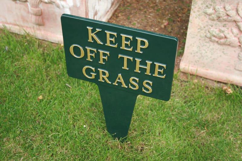Cast aluminium garden sign