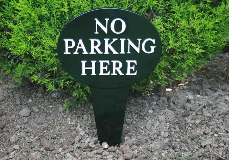 No parking sign cast in aluminium