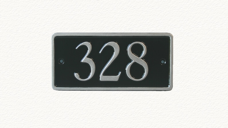 Rectangular metal house number plaque