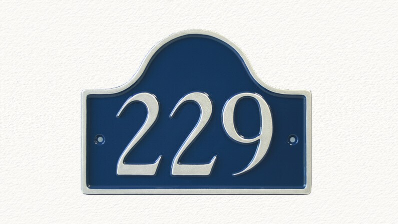 Bridge shape house number sign