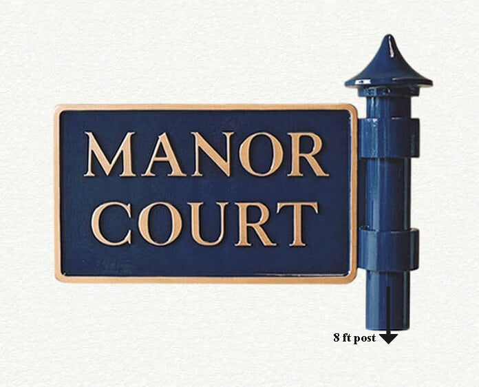 Double sided house sign with post and finial