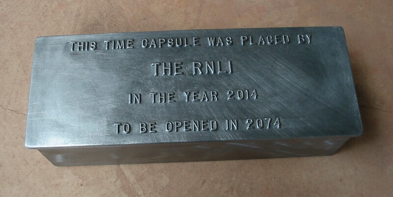 The RNLI cast lead time capsule