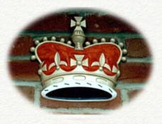 Duchy of lancaster crown cast in metal and decoratively painted
