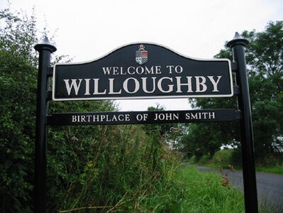 Willoughby village sign erected on country lane