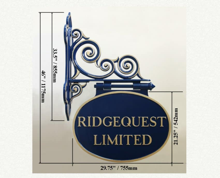 Large double sided wall mounted shop sign