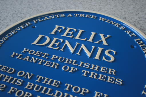 Commemorative blue plaque cast in aluminium