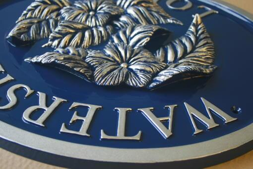 Commemorative blue plaque cast in aluminium